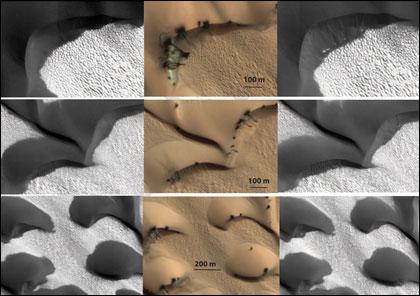 На Марсе перемещаются дюны