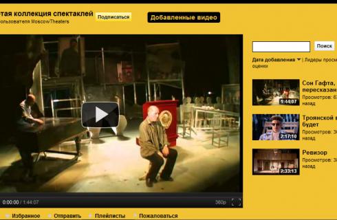 YouTube версия спектаклей Москвы