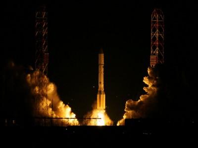 Запуск ракеты на космодроме Байконур