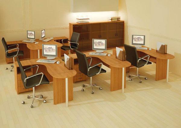 Обстановка офиса мебелью