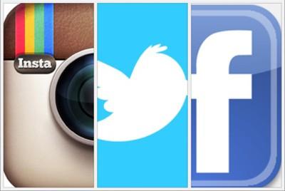 Instagram, Twitter, Facebook
