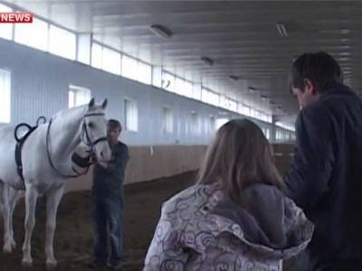 Лошадь помогает девочке-инвалиду учиться ходить