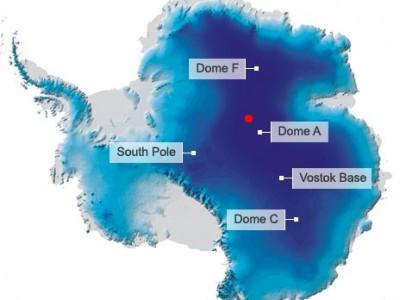 Красным на карте отмечена точка, где был зарегистрирован минимум температур