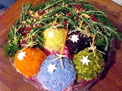Пример оформления новогоднего салата