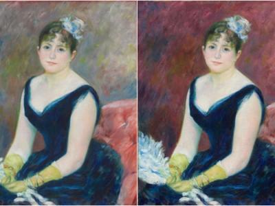 Реставрация картины (справа) и оригинал портрета(слева)