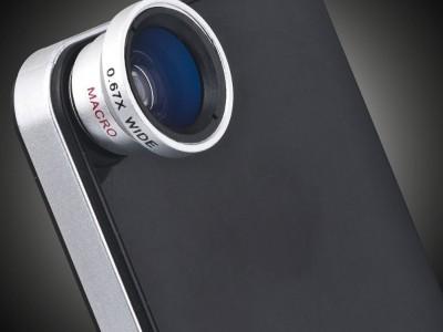 Предметное стекло в объективе на смартфон