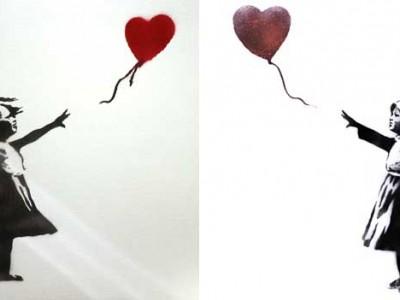 Оригинальная работа Бэнкси — слева,  реакция на конфликт в Сирии — справа.