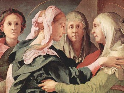 Сырный клей присутствовал в создании картны «Встреча Марии и Елизаветы»,  Якопо Понтормо