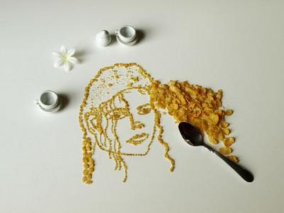 Кукурузные хлопья в портрете Майкла Джексона