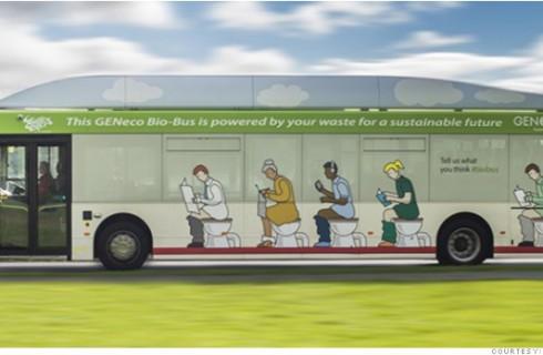 Зеленый автобус ездит на отходах