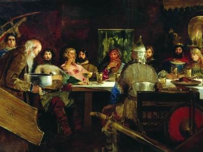 Питание в праздники: А. П. Рябушкин. Пир богатырей у ласкового князя Владимира. 1888 год
