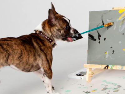 Пес Ньюман создает картины