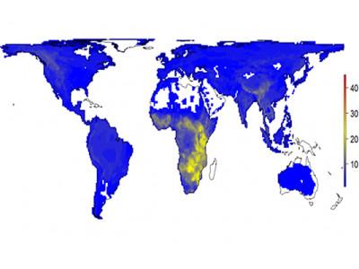 Карта разнообразия млекопитающих под влиянием деятельности человека