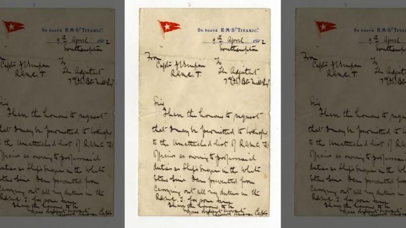 На аукцион выставлены новые письма с Титаника