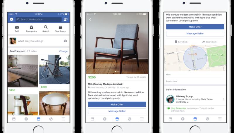 Социальная сеть Facebook создал приложение опродажах
