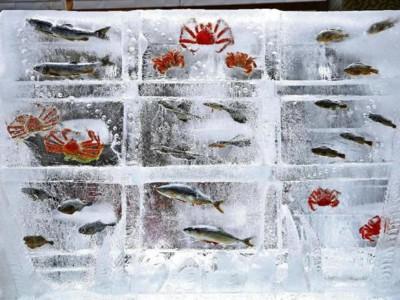 Снежный фестиваль в Саппоро. Скульптура изо льда и рыб