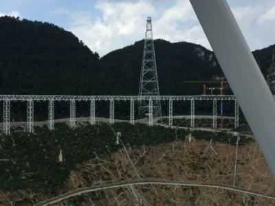 Процесс строительства радиотелескопа FAST
