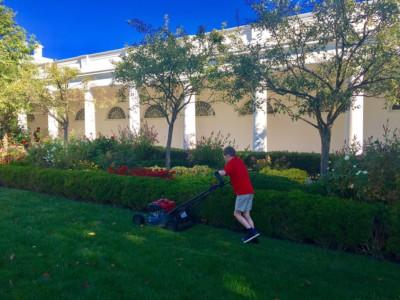 Франк Джаччио приводит в порядок газон Белого Дома
